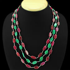 ATTRCATIVE 3 LINE 223.00 CTS EARTH MINED RED RUBY & GREEN EMERALD BEADS NECKLACE