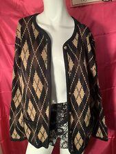 Vintage Liz Baker Cardigan Sweater Button Down & Pockets Fall Brown Size Medium