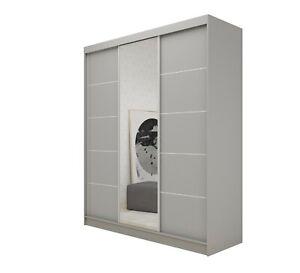 WARDROBE drawers, 3 sliding doors bedroom living furniture FULL MIRROR MRMA180cm