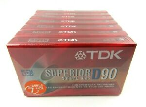 7 Pack TDK Superior D90 D-90S10TG Normal BIAS Sealed