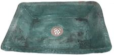 Green Patina Aged Rustic Oxidized Pure Copper Rectangle Bathroom Sink Wash Basin