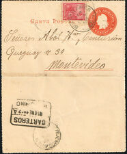 2744 ARGENTINA TO URUGUAY PS STATIONERY LETTER CARD 1902 Bs. AIRES - MONTEVIDEO