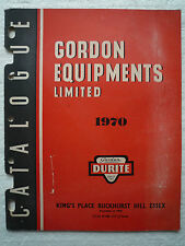 GORDON DURITE EQUIPMENT WHOLESALE CATALOGUE 1970 (LIGHTS SWITCHES WELDING ETC)