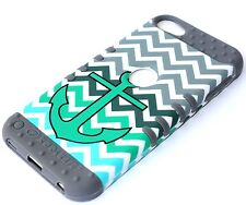 iPod Touch 5th 6th Gen -HARD&SOFT RUBBER HIGH IMPACT CASE TURQUOISE GREEN ANCHOR