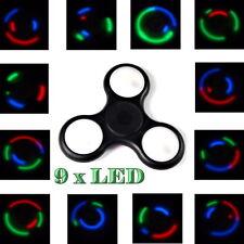 LED Finger Hand Fidget Spinner schwarz 9 verstellbare LED TOP SPIN Kugellager