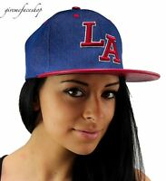 LA denim snapback caps, p.u bling Los Angeles flat peak baseball fitted hats