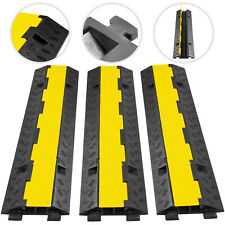 Cable Protector Ramp 3pc 2 Channel Floor Tray Guard Electrical Wire Cover Rubber