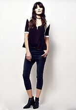 Free People X One Teaspoon black Patched Harem Jeans elastic waist S