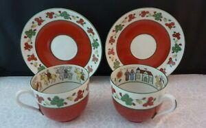 PAIR of Vintage Teacup & Saucer Sets -The Wedding Procession - Porsgrund Norway