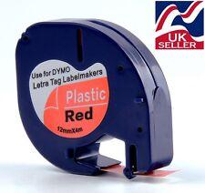 4 X Cartucho de cinta 91203 rojo de plástico 12mm por 4m para los fabricantes de etiquetas Dymo Letratag