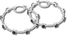 ELLE Jewelry - FUSION Sterling Silver Black Spinel Hoop Earrings