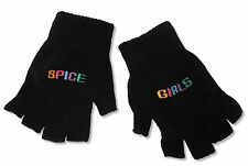 THE SPICE GIRLS EMBROIDERED BLACK KNIT FINGERLESS GLOVES NEW OFFICIAL BAND MERCH