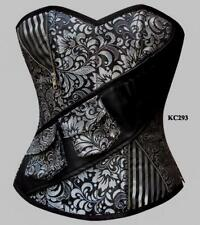 Silver Steampunk Steel Boned Tight Lace Cincher Over Bust Size 24 Corset
