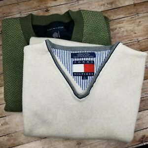 LOT OF 2 TOMMY HILFIGER VEST 100% COTTON SIZE L SMALL DEFECT, PLEASE SEE PHOTOS