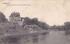 H 490 -Lübeck, Navigationsschule m. Mühlentorbrücke, 1907 gelaufen