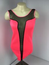 Cleo Apparel Body Suit NEON HOT PINK Illusion VTG 90s Plunging Festival Boho EDC