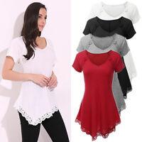Womens Asymmetric Peplum Blouse Short Sleeve Casual Tops Pullover T Shirt S-4XL