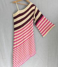 Vertigo One Shoulder Sweater Dress Multi-Color Kimono Sleeve Asymmetrical Size S