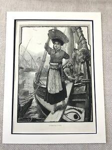 1882 Lisbon Portugal Fishing Girl Victorian Painting Original Antique Print