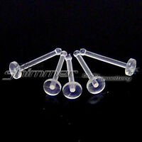 5 CLEAR FLAT NOSE STUD RETAINERS 18g or 20g 1mm or 0.8mm SINGLE 2mm FLAT TOP
