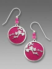 Adajio Earrings Silver Tone Cherry Blossoms Over Deep Fuchsia Disc Handmade USA