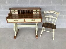 TEMPLE STUART HITCHCOCK STYLE TRESTLE BASE 6 DRAWER WRITING DESK AND CHAIR