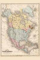 North America 1867 Vintage Antique Style Map Mural inch Poster 36x54 inch