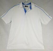 Mens Callaway Golf Polo Shirt Size Large Short Opti-Dri L Large White Blue