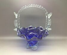 Vintage Blue Art Glass Basket - Murano / Italy (?)