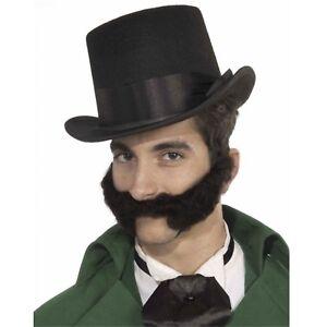 Men's Curly Victorian Dickens Western Evil Villain Beard Black Costume Accessory