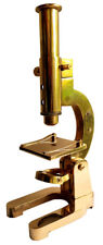 MICROSCOPE VINTAGE STYLE DESKTOP 17cm MAGNIFIER IN SOLID BRASS 16x MAGNIFICATION