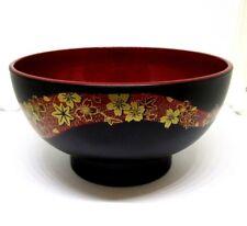 Japanese YUZEN SAKURA Miso Soup or Rice Bowl Black  Inside Red  Made in JAPAN