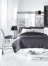 2 tlg. Luxus Mako-Satin Bettwäsche Modern Grau Garniturset 135x200 + 80x80cm
