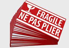 Lot de 10 Etiquettes Adhésives FRAGILE pour expédition emballage colis sticker