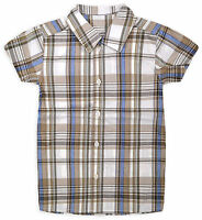 Boys Short Sleeved Check Shirt New Kids 100% Cotton Summer Shirts Ages 2-5 Years