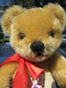 """VINTAGE MERRYTHOUGHT ENGLAND MOHAIR TEDDY BEAR 4 RARE TAGS ADORABLE FACE 12"""""""