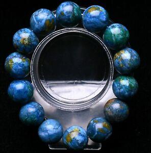 16mm Beauty Glittering Azurite & Malachite Crystal Round Beads Bracelet AAA
