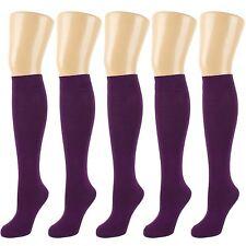 Plain Deep Purple Knee High Socks, 6 PACK