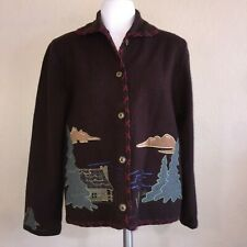 Painted Pony Brown Embroidery Western Cowboy Trees Scenery Applique Sweater