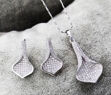 18ct White Gold GF Ladies Pave CZ White Stones Elegant Drop Jewellery Set