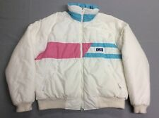 VINTAGE 1985 80S CB SPORTS BRIGHT WHITE PASTEL COLOR PUFFER SKI JACKET WOMENS XL