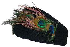 D&Y Womens Rib Knit Winter Headband W/Peacock Feathers & 2 Buttons #476 Black