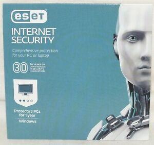ESET Internet Security & Antivirus - 3 PCs 1 Year 2019 Windows New Sealed