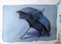 Water Color Umbrella Colorful Painting 6x8 Home Decor Playful Blue Artwork Art