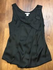 Ladies Black Satin Sleeveless Top H&M Size 10-12. Bow And Puff Hem Detail. Used