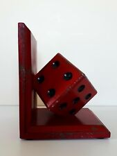 Red Die Bookends Vintage Style Antique