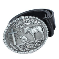 Mens Western Leather Belt With Large Knight Horse Cross Skull Cowboy Buckle