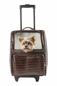 PETOTE RIO Chic Brown Croco Faux Leather Rolling Carrier On Wheels Airline Bag