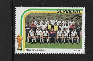 1986 St Vincent - World Cup Mexico - England Team - Single Stamp - Unhinge Mint