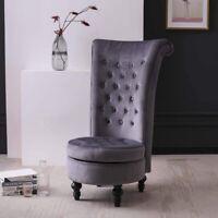 Velvet Accent Ottoman Chair Upholstered High Back Armless Sofa Living Room Gray